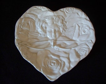 FREE U.S. SHIPPING--Heart-Shaped, Embossed, Cupid Plate