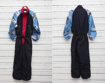 Men Ski Suit / 1980s Black, Red, Blue Skirwear Onepiece Snow Suit by Etirel / Size M / Men Snowboard Clothing