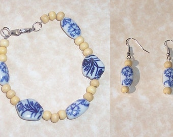 Dutch Delft Inspired Earrings and Matching Bracelet Set - Girl With A Pearl Earring - Delft - Dutch Tile