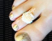 Toe Ring - Polymer -  Cream Rose - Stretch Bead Toe Ring