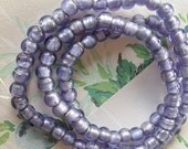 Periwinkle Blue Glass Beads, Silver Foil Beads, Peace Love Beads, 7mm, 50pcs