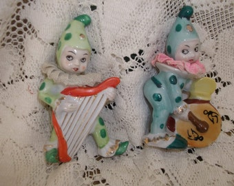 2 Clown Musician Figurines With Lace Collars Japan
