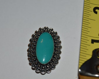Vintage Sterling Silver Blue Stone Brooch