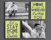 Custom Personalized Typography and Photo Canvas Cluster with Custom Colors!