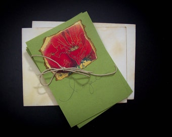 NEW! Vintage Poppy Quote Notecard