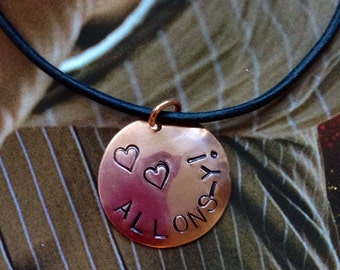 Doctor Who Allons-Y hand stamped copper necklace