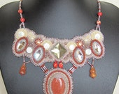 Gold sandstone bead embroidery necklace