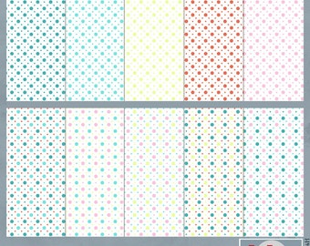 Stacked Dots Digital Scrapbook Paper Pack