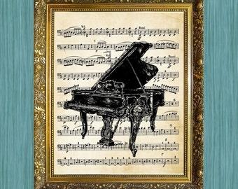 Piano on Music Print Piano Art Print Music Print