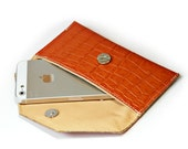 Leather iPhone 5 case Orange Croco Leather , Leather Wallet , iPhone  Wallet