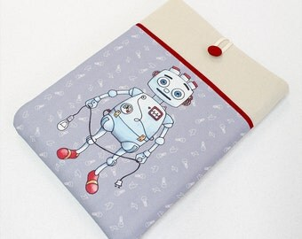 Macbook Pro Laptop case, Macbook Air sleeve, Macbook Retina Cover, 50's Robot toy, tin robot, padded sleeve, front pocket, Apple laptop case