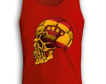 Team Spain Soccer Skull Men's Tank Top