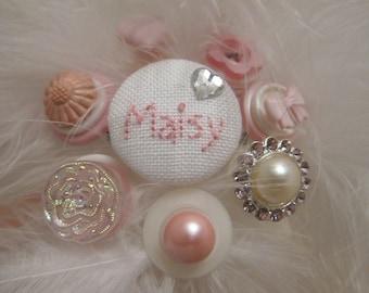Flower Girl Wand - Button Bouquet - Pink Button Wand - Wedding