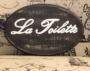 Adorable Bath Sign (La Toilette) (5x7)