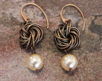 Handmade Oxidized Bronze Chainmaille Rosette Earrings with Swarovski Crystal Pearl Dangles