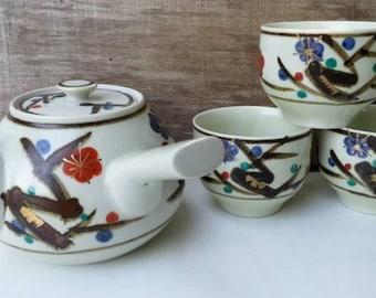 Vintage Kyusu Japanese Stoneware Ceramic four piece set Teapot and three Teacups Pottery Rustic Asian decor mid century modern design