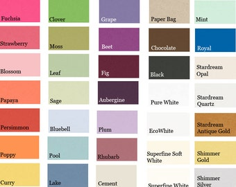Place Card or Escort Card Color Samples