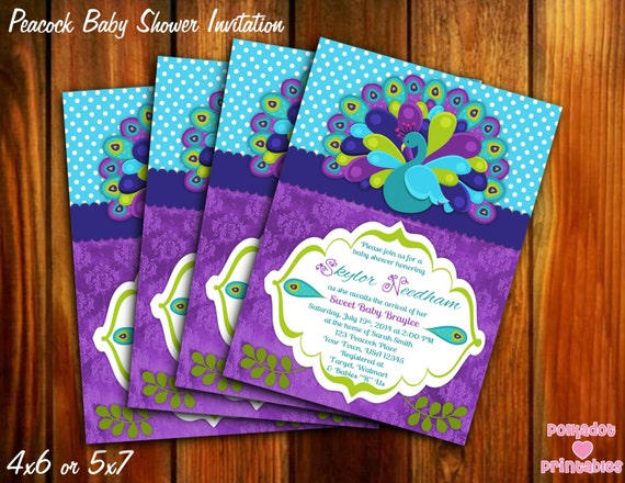 peacock baby shower invitation 4x6 or 5x7 printable digital file