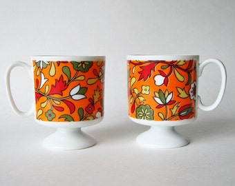 Holt Howard Coffee Cups, Demitasse Pedestal Cups, Flower Power 1960s