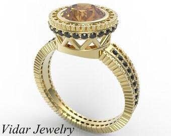 Engagement Ring,Orange Topaz Engagement Ring,Topaz Engagement Ring,Unique Engagement Ring,Vintage Engagement Ring,Art Deco Ring,Yellow Gold