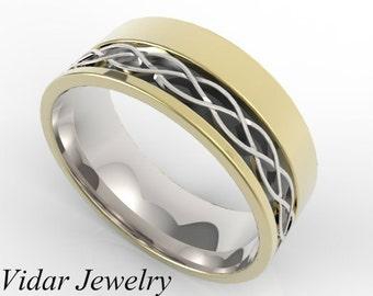 Mens Wedding Band,Men's Three Tone Gold Wedding Band,Unique Wedding Band,Wide Wedding Band,Wedding Ring,Mens Wedding Ring,Black Gold Ring