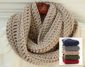 Infinity Scarf, Crochet Scarf, SOFT, Tan/Light Taupe Crochet Scarf, Crochet Infinity Scarf, Crocheted, Women's, Color Choice
