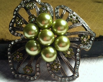 Vintage Erica Lyons Green Pearl Rhinestone Bold Flower Brooch