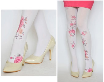 Tights With Vintage Pink Flowers , Hand printed tights , Fashion Pantyhose
