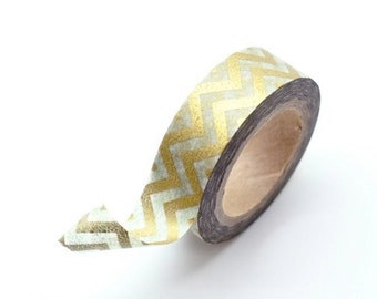 Washi Tape Paper Masking Tape - Metallic Gold Zig Zag