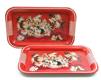 Red Daisy Metal Serving Trays