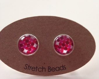 Pink Beauty Glass 12mm Earrings for Pierced Ears
