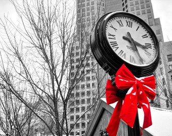 Christmas Clock Photo, selective color HDR photograph, black, white, and red, 8 x 10 fine photography print, Christmas Time