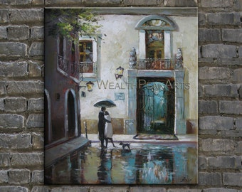 oil paiting,couple painting,city painting,palette knife painting by ENXU.ZHOU,huge 36'',ready to hang
