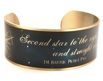 Peter Pan Quote, Second Star to the Right and Straight on 'til Morning, Neverland, Star Quotes, Gold Plated Cuff
