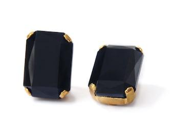 Black and Gold Tone Rectangular Earrings