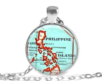 Phillipine map necklace, Phillipines necklace pendant charm, Philippine map jewelry, Philippines keychain, malaysia ornament, A105