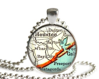 Houston, Texas map charm necklace, Map Jewelry by Location Inspiratons, Texan Jewelry, Bridal Shower Gift, Wedding Gift for Couples, A299