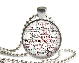 Columbus Ohio pendant, Columbus Map Jewelry, Ohio map mother Daughter gift, Available as a College Keychain, Map of Ohio Keychains, A328