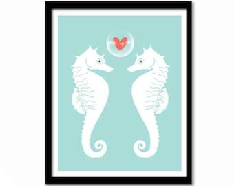 Bathroom Art, Wall Decor, Wall Art, Love Print, Seahorse Print, Poster, Blue and White Wall Art, Coastal Art