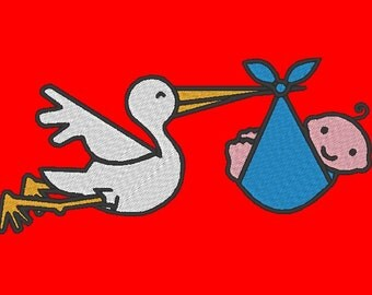 Stork and Baby Embroidery Design