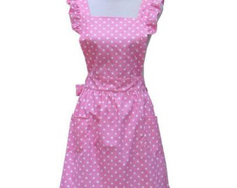 New Beautiful Handmade full apron dress  for kitchen aprons  fashion pink Accessories