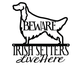 Irish Setters Live Here Metal Sign - Black, 11.5x12, Red Setter, Setter, Dog Sign, Metal Wall Art, Wall Decor