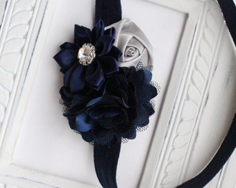 Triple Flower Headband or Hair Clip - Satin Flowers, Navy and Silver Headband - Baby Headband, Newborn Headband, Girl Headband