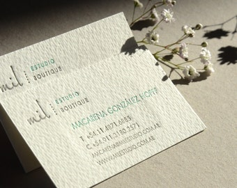 Letterpress Business Cards - Cotton Paper - Customized  -  2 colors