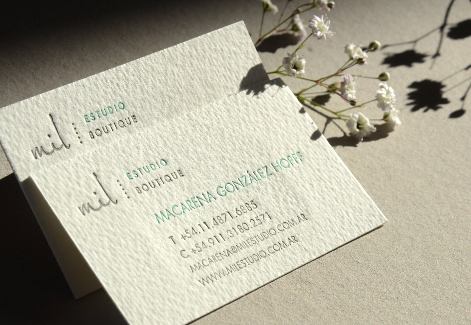 Letterpress Business Cards Cotton Paper Customized 2
