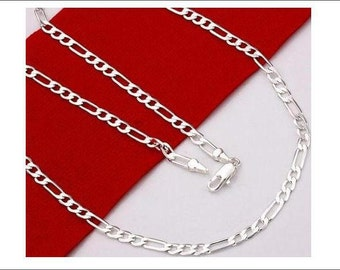 """5pcs 24"""" 4mm silver plated Figaro Chain Necklace"""