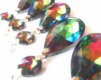 5 Vitrail Rainbow Teardrop Chandelier Crystals Shabby Chic 38mm