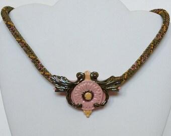 Aberdeen: Tartan Necklace with Gazania