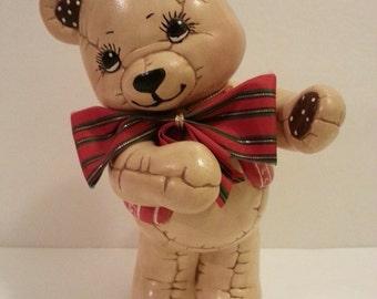 Ceramic Christmas Teddy Bear - 9 3/4 inches tall