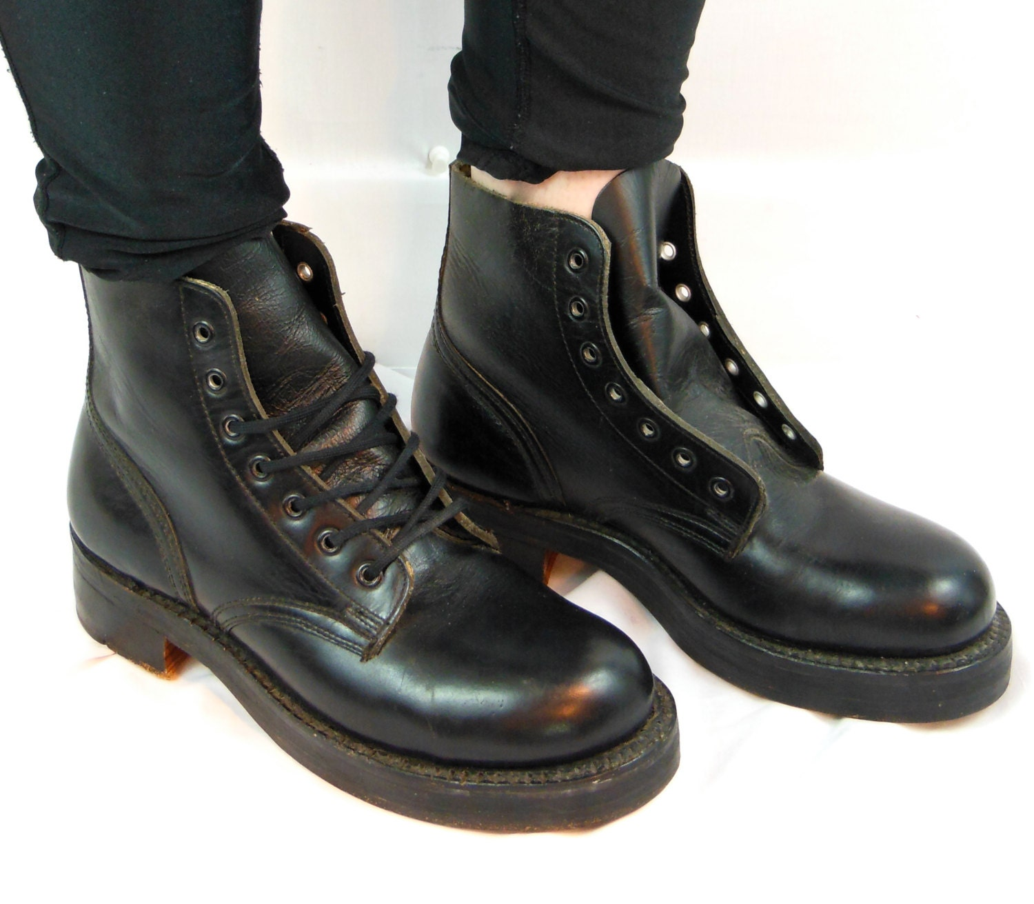 sale 1976 steel toe boots unisex black leather army boots